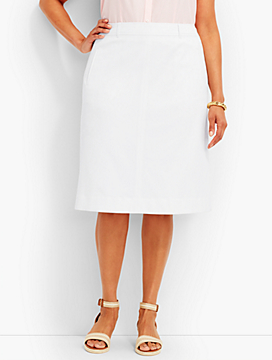 Woman Exclusive: Cotton Pique A-Line Skirt - Talbots White