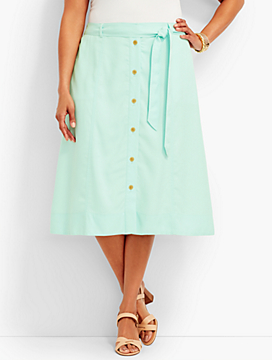 Womans Exclusive TENCEL(R) Button-Front Skirt - Opal
