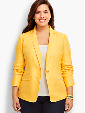 Linen Blazer-Tipped Bright Yellow & India Ink