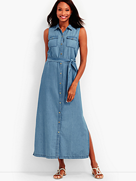 Snap-Front Maxi Shirtdress