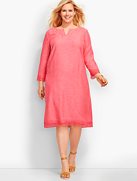 Lace-Trimmed Linen Tunic Dress