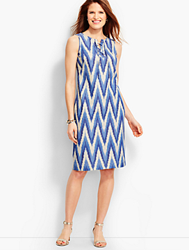 Ikat Lace-Up Shift Dress