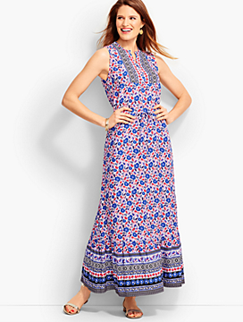 Flower Flounced Maxi Dress