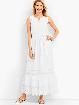 Embroidered-Eyelet & Lace Maxi Dress