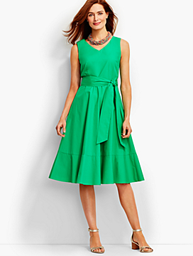 Flounced Fit-And-Flare Midi Dress