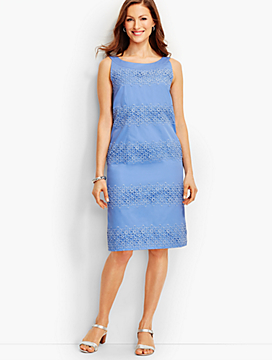 Floral Lace Trimmed Sheath Dress