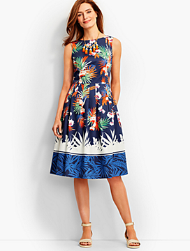 Orchid Print Pleated Dress