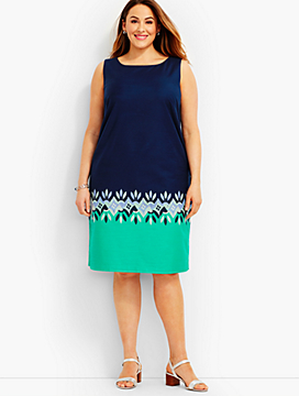 Embroidered Geo-Diamond Sheath Dress
