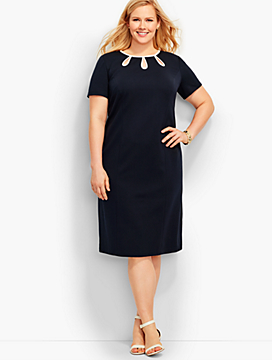 Tipped Ponte Sheath Dress