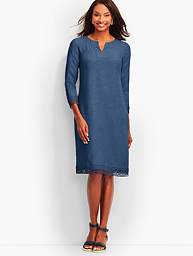 Lace-Trimmed Linen Tunic Dress-Indigo