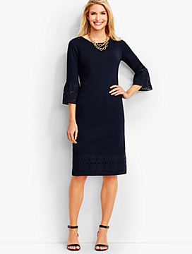 Lace-Trimmed Ponte Sheath Dress