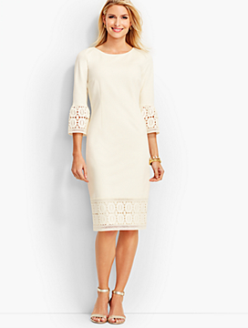 Lace-Trimmed Ponte Sheath Dress - Fully-Lined