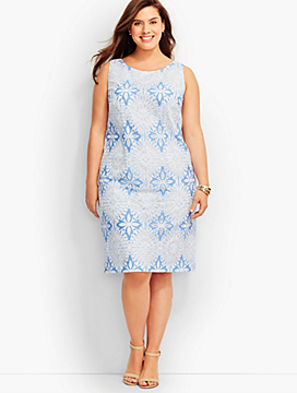 Geo Floral Jacquard Sheath Dress