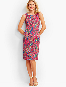 Back-Tie Bonaire Paisley Sheath Dress