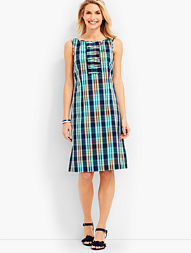Ruffled Shift Dress-Coastal Plaid