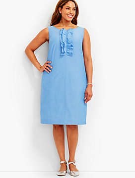 Ruffled Shift Dress-Chambray