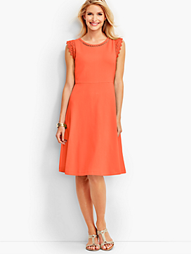 Lace-Trimmed Edie Fit-and-Flare Dress