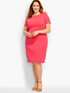 Scalloped Cotton Shift Dress