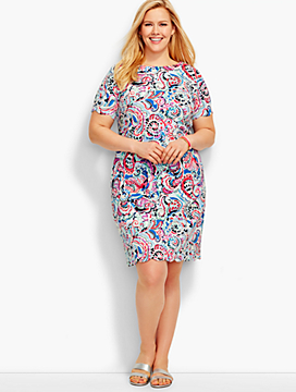 Scalloped Cotton Shift Dress-Shoreline Paisley