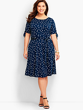 Dot Tie-Sleeves Dress
