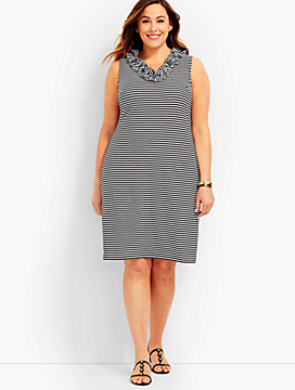 Ruffled V-Neck Striped Shift Dress