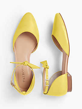 Edison Ankle-Strap D'Orsay Flats - Soft Napa Leather