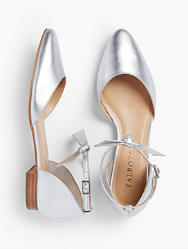 Edison Ankle-Strap D'Orsay Flats - Metallic Vachetta Leather