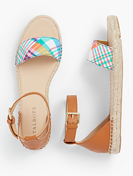 Ivy Ankle-Strap Espadrille Flats - Madras Plaid & Leather