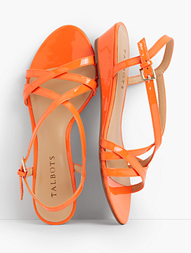 Capri Crisscross-Strap Wedges - Patent Leather