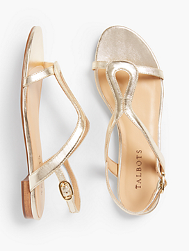 Keri Keyhole Sandals - Metallic Leather