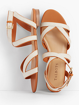 Keri Multi Straps Ankle-Strap Canvas Sandals