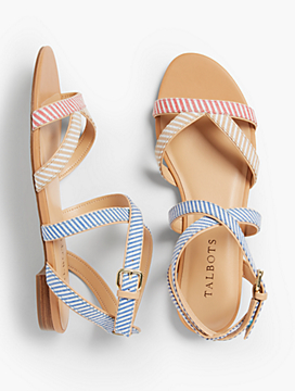 Keri Multi Straps Ankle-Strap Sandals - Mixed Stripes