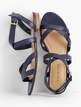 Keri Multi Straps Ankle-Strap Leather Sandals