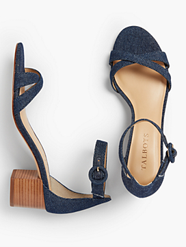 Mimi Cross-Strap Sandals - Cotton Denim