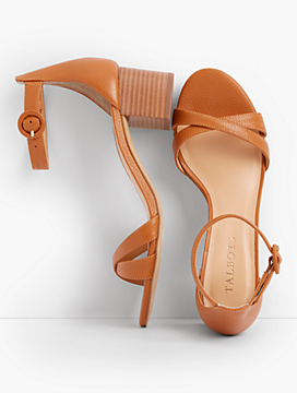 Mimi Ankle-Strap Sandals - Pebbled Leather