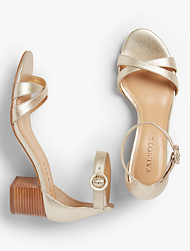 Mimi Cross-Strap Sandals - Metallic Leather