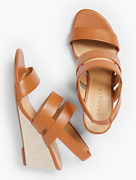 Royce Pebbled Leather Wedge Sandals