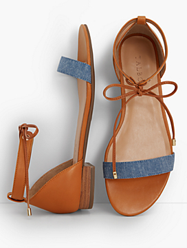 Sailor Tie-Strap Sandals-Chambray & Leather