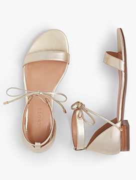 Sailor Tie-Strap Sandals-Metallic Leather