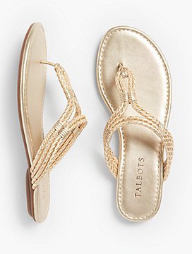 Sadie Braided Thong Sandals-Metallic