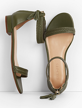 Sailor Tasseled Braided-Leather Sandals