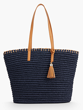 Crocheted Paper Straw Tote - Fashion Colors