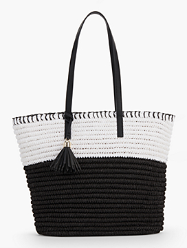 Crocheted Paper Straw Tote - Black & White
