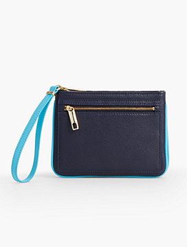 Pebbled Leather Double-Gusset Wristlet