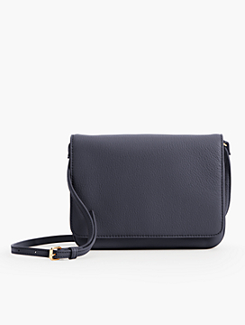 Pebbled Leather Double-Gusset Crossbody