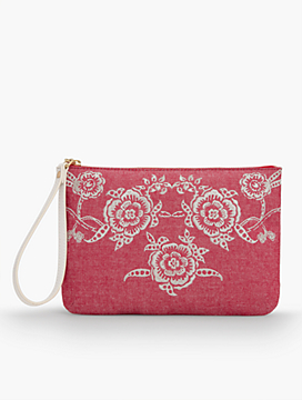 Flower Embroidered Wristlet - Cherry