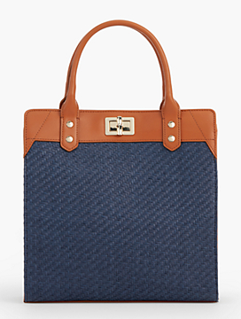 Woven Straw & Leather Bag - India Ink