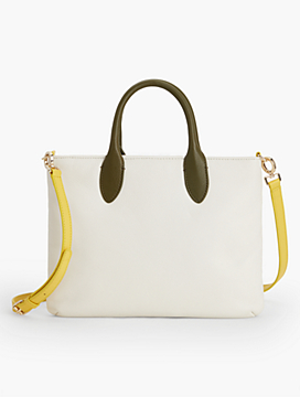Crossbody Bag-Colorblocked Pebbled Leather
