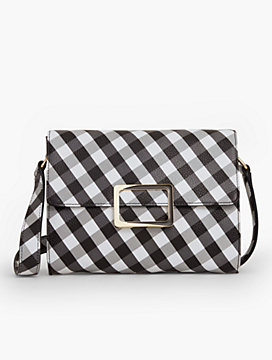 Gingham Buckle-Flap Shoulder Bag