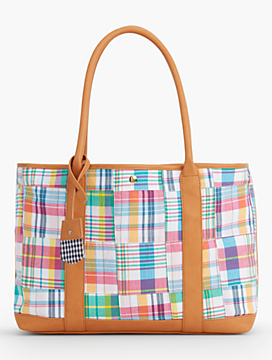 Cotton Canvas Satchel - Madras Plaid